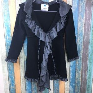 Anthropologie Sparrow Black Wool Ruffle Cardigan